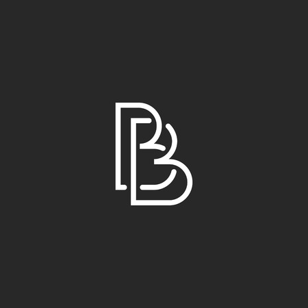 white letters: Letter B monogram logo, intersection thin line design overlap outline, black and white style business card mockup Illustration