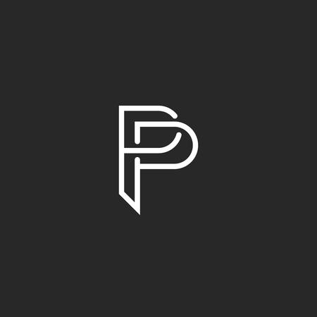 P 文字のモノグラムのロゴ、黒と白のモックアップの招待状や名刺のエンブレム、装飾的な記号  イラスト・ベクター素材