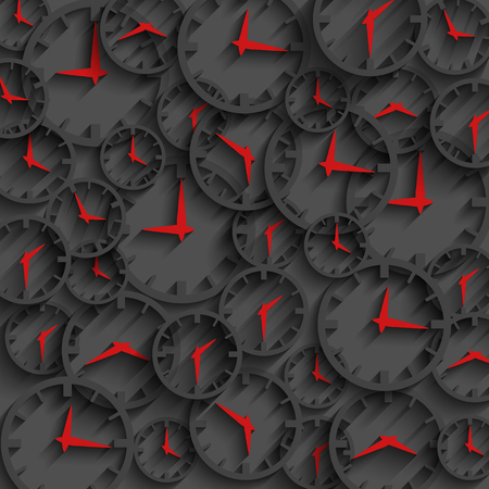 abstract time: 3D clock abstract time concept dark background, minute and hour red arrows, business motion Illustration