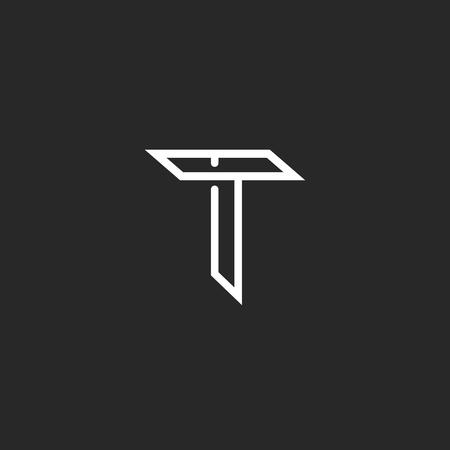 T letter logo, mockup line monogram symbol for wedding invitation or business card