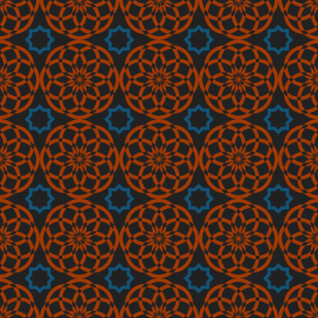 symmetry: Arabic traditional seamless pattern, islamic oriental ornament, geometric symmetry graphic design elements, east background Illustration