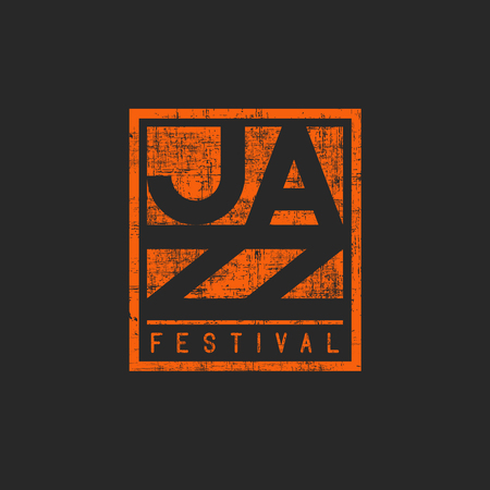 Music jazz festival mockup poster, orange graphic old shabby texture, print t-shirt template
