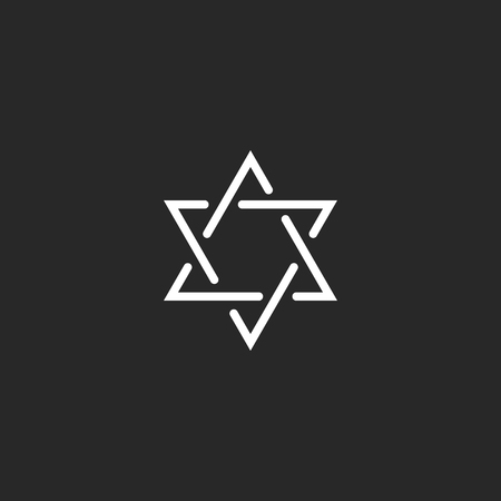 jewish star: Star of David monogram logo, hexagram of thin line as a Jewish symbol Illustration