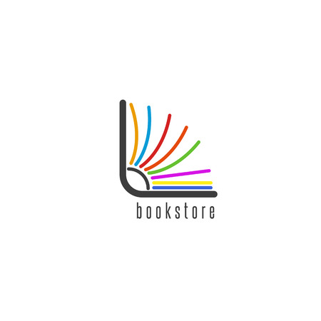 Mockup book logo, flipping colored pages of the book, emblem of the bookstore or library Vettoriali