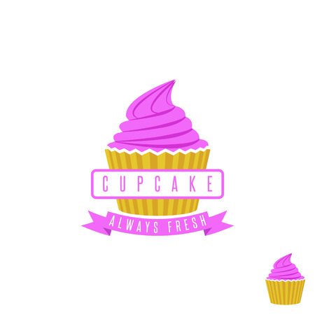 cream cake: Cake shop logo, sweet cupcake with pink cream and ribbon, retro dessert emblem template design element
