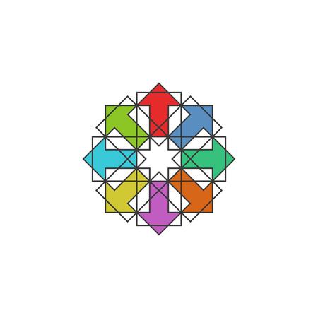 symmetry: Tech colorful arrows arabic, mockup design element for traditional muslim symmetry pattern emblem, success icon
