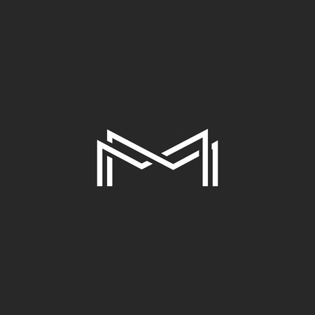 m: Letter M monogram, overlapping thin line black and white design elements, template wedding invitation emblem or business card symbol