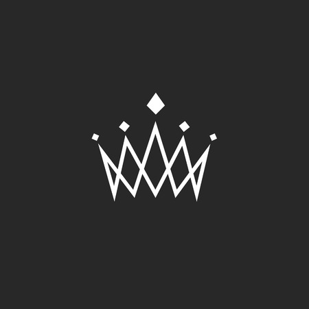 Crown design element, monogram abstract logo, thin line royal icon, template hotel emblem