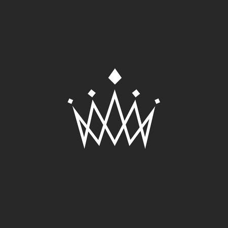 corona de rey: Elemento de dise�o de la corona, monograma logotipo abstracto, delgada icono real de l�nea, plantilla del hotel emblema Vectores