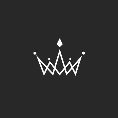 couronne royale: Logo Couronne monogramme, maquette symbole royal noir et blanc avec des bijoux dans la mince ligne d'intersection