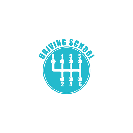 gearshift: Driving school logo, six gearshift knob blue emblem, auto icon
