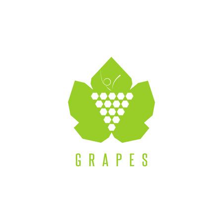 winemaking: Grapes   winemaking mark, bunch of grapes on a green leaf mockup design element for wine emblem Illustration
