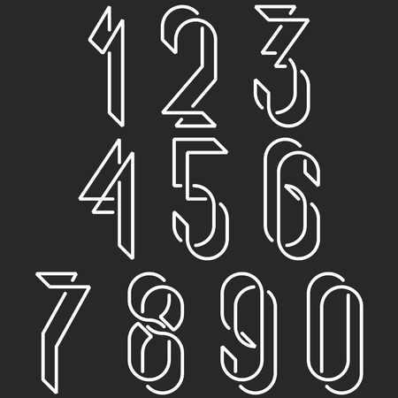 Numerical symbols line monogram numbers, mockup black and white line mathematics numerals for hipster poster Vectores
