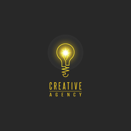 Light bulb logo, lamp shine creative innovation sign, web development, advertising, design agency emblem, idea power technology mark Ilustração
