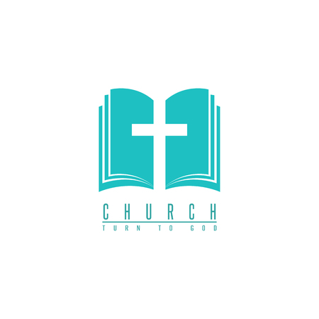 baptist: Church logo, cross and abstract bible religion symbol, design element for faith icon