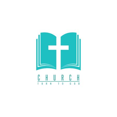 Kerk logo, kruis en abstract bijbel godsdienst symbool, design element voor geloof pictogram