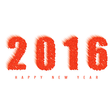 fire ball: 2016 happy new year greeting card, text of the fire ball, design element for holiday poster or flyer