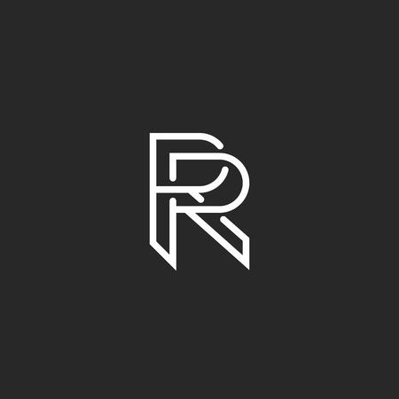 Letter R logo monogram, mockup hipster black and white design element, wedding invitation template emblem