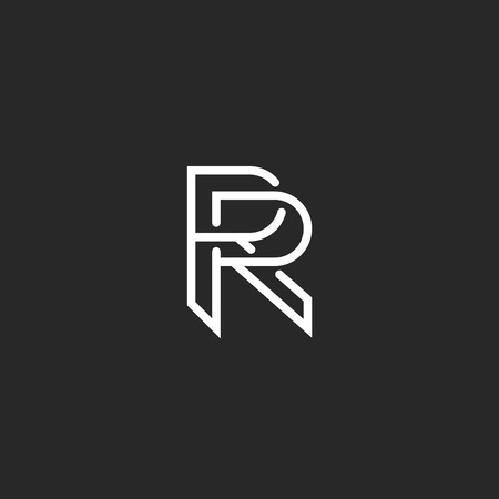 white letters: Letter R logo monogram, mockup hipster black and white design element, wedding invitation template emblem