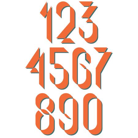 numerals: Numerals old style, set numbers retro poster or card, mockup design elements for vintage wedding invitation Illustration