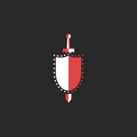 knightly: Sword and shield logo, mockup design element for security agency, medieval weapon symbol, emblem knightly tournament