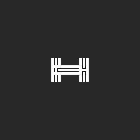 letras negras: Monograma de la letra H logotipo, entrelazado elemento delgada línea de diseño, invitación de la boda maqueta o tarjeta de visita emblema, símbolo tarjeta del hotel