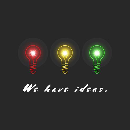 innovacion: Ideas de innovaci�n Concepto, resultado creativo inspiraci�n, fila tres bombillas de colores, fondo negro luz realista