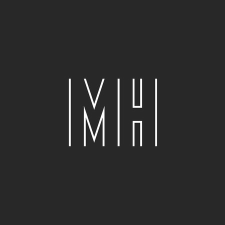 Letter MH monogram, m and h union