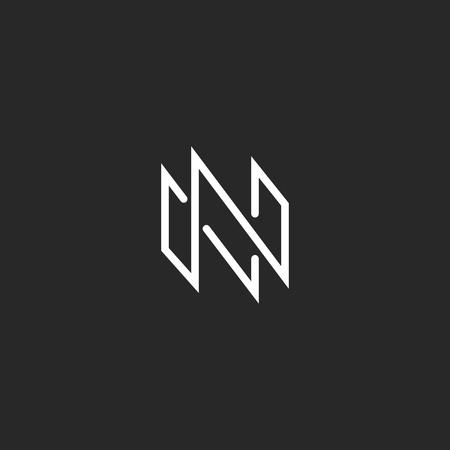 Logo N monogram letter, mockup thin line modern design element for business card emblem