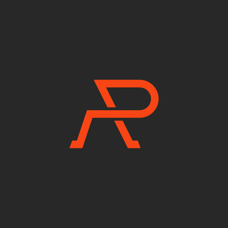 r fine: Logo R letter monogram, weaving thin line style, mockup abstract emblem, design element template