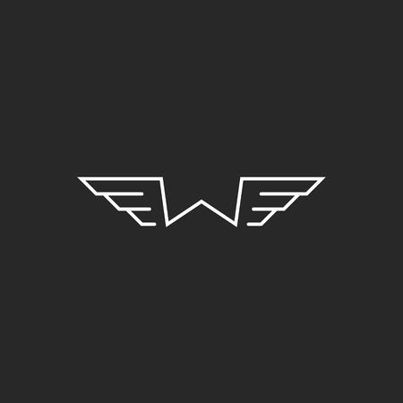 Monogram letter W logo mockup, wings thin line design element, graphic geometric shape template
