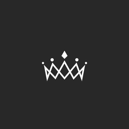 couronne monogramme royal maquette, bijou symbole de beauté princesse tiare, élément de conception de la ligne mince Vecteurs