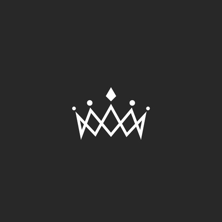Royal crown mockup monogram, jewel tiara princess beauty symbol, thin line design element
