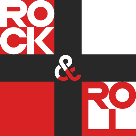 Rock and roll poster, mockup music festival banner, musical print t-shirt design element Vetores
