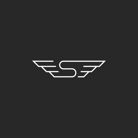 wings icon: Monogram mockup S wings letter, concept creative idea flying car emblem
