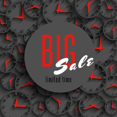 advantage: Big sale time poster mockup, clock hands, shop advertising , special discount advantage business grey background Illustration