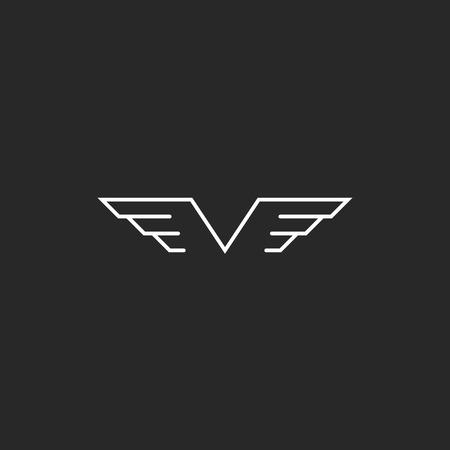 silhouette voiture: Monogramme lettre ailes en V, emblème de style créatif mince maquette de ligne pour invitation de mariage Illustration