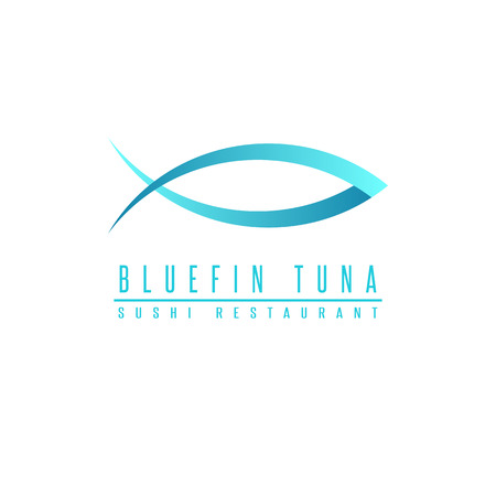 tuna fish: Bluefin tuna  fish silhouette, mockup sushi restaurant, design element fishing club emblem