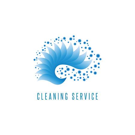 servicio domestico: Logotipo del servicio de limpieza del mar gradiente de agua gotas de onda azules forma gráfica elemento de diseño
