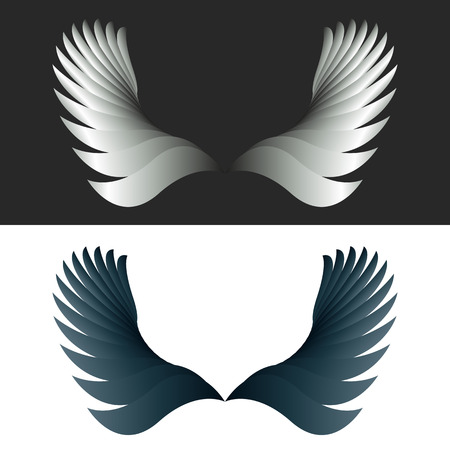 angel white: Angel wings black and white fantasy decoration design element