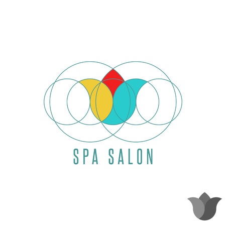 Tulip logo flower graphic design, mockup beauty clinic, spa salon circle geometric shape, creative floral emblem