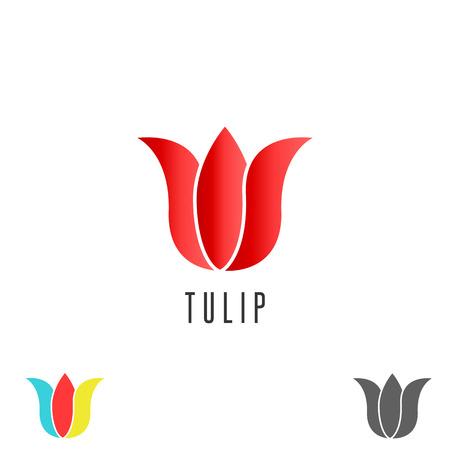 red tulip: Tulip logo flower, mockup cosmetic spa simple emblem, creative beauty salon emblem Illustration