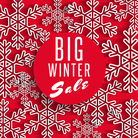 Big winter sale poster red background, discount advertising promotion stock shop banner, white snowflake decoration, mockup design element