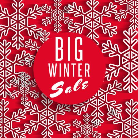 Grote winter verkoop poster rode achtergrond, korting reclamebevordering voorraad winkel banner, wit sneeuwvlok decoratie, mockup design element