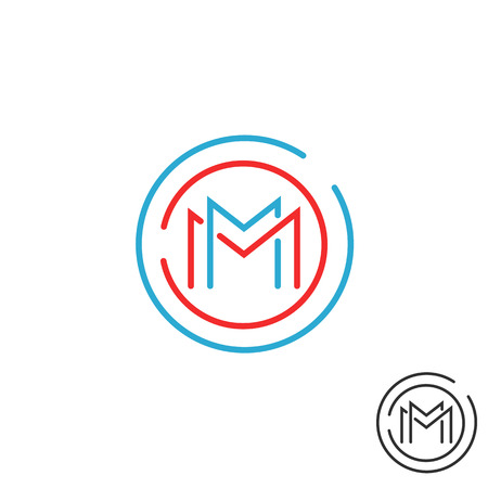Letter M icon circle frame monogram, mock up line round border design element, red and blue graphic tech geometric shape Illustration