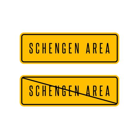 customs: Schengen zone yellow sign, European customs area information