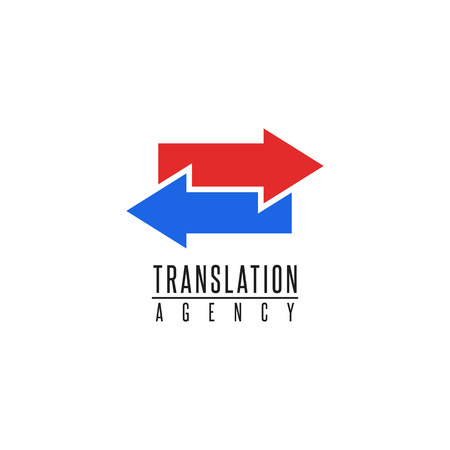 Arrows logo translation agency mockup design element, online education language school, graphic geometric shape blue and red finance exchange emblem
