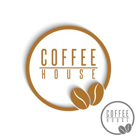 Coffee logo beans brown round cafe menu emblem, mockup design element product banner