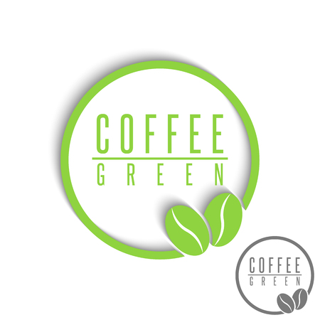 coffee beans background: Green coffee logo mockup, design element cafe espresso emblem, natural beans graphic style