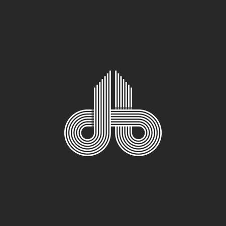 carta: Cartas logo DB monograma, Línea de desplazamiento del estilo de superposición, tarjeta de visita emblema maqueta, blanco y negro elemento de diseño de recorrido de las iniciales intersección Vectores